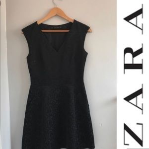 Zara fit and flare Damask cocktail dress